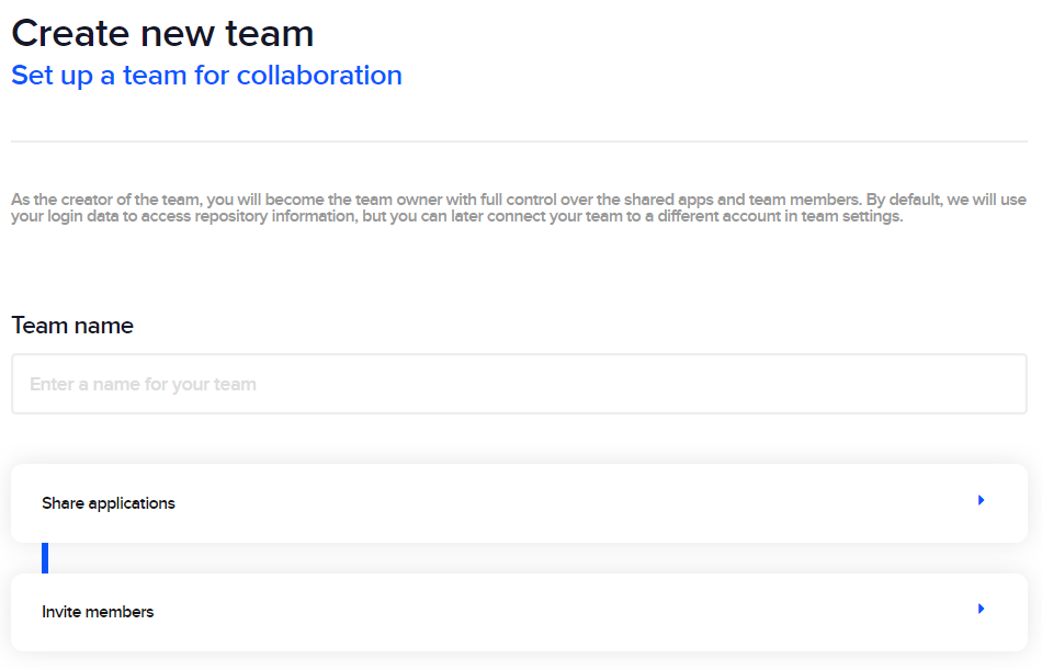 Enter a team name, select shared apps and invite members to set up a team.