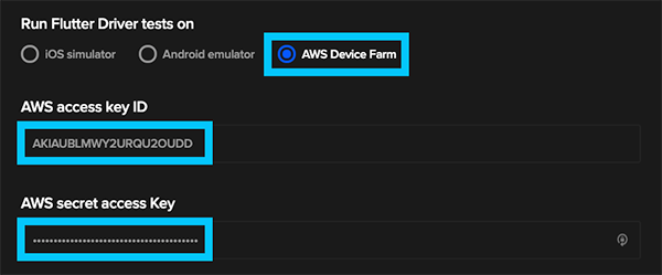 AWS Device Farm credentials in Codemagic