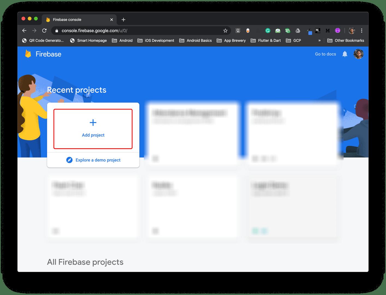 Firebase console - Add project