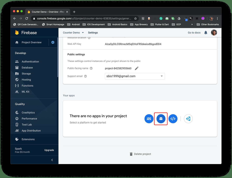 Firebase Settings