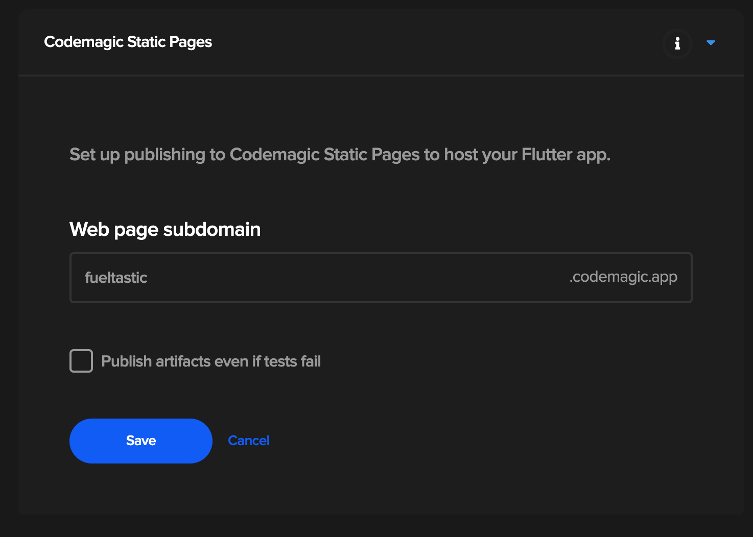Publishing to Codemagic Static Pages