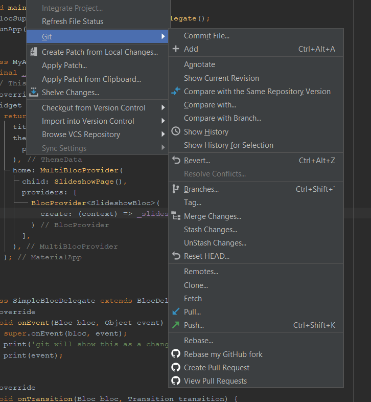 Git options in Android Studio