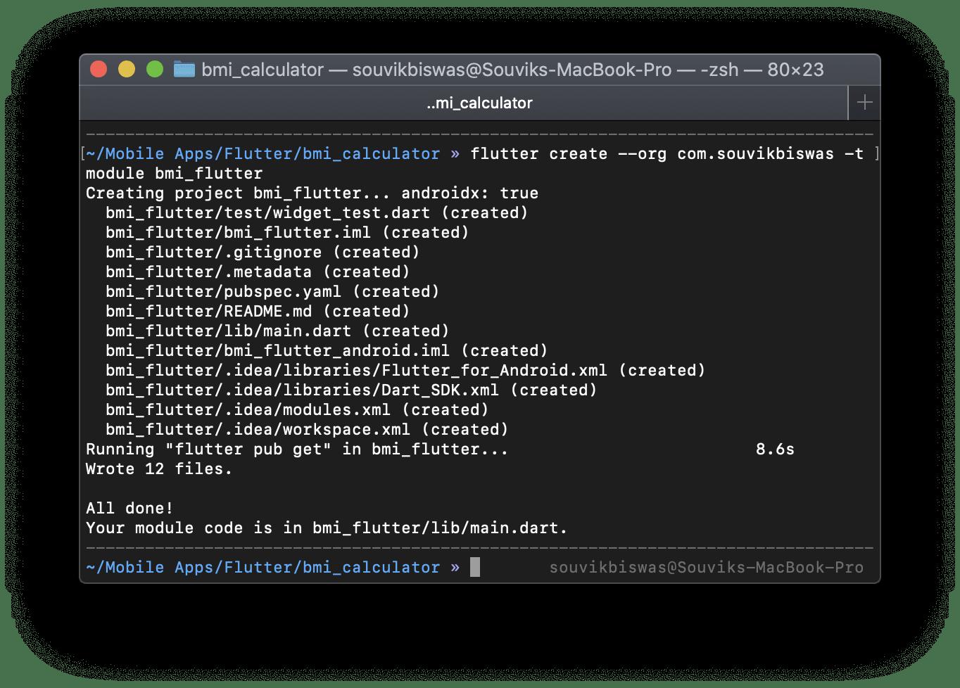 Creating Flutter module