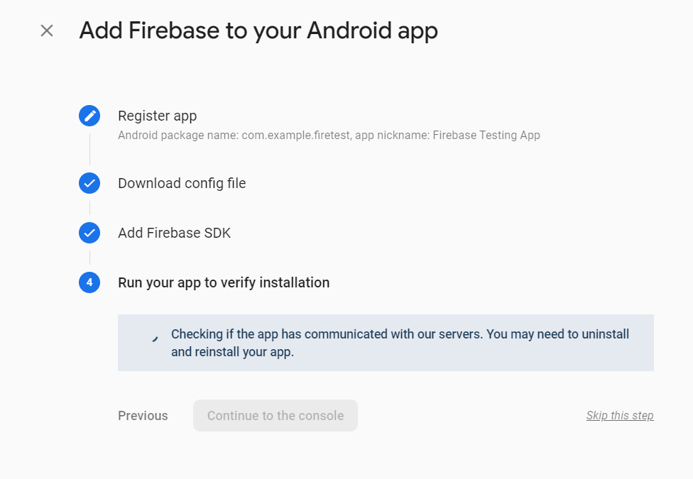 Firebase waiting on communication from our app