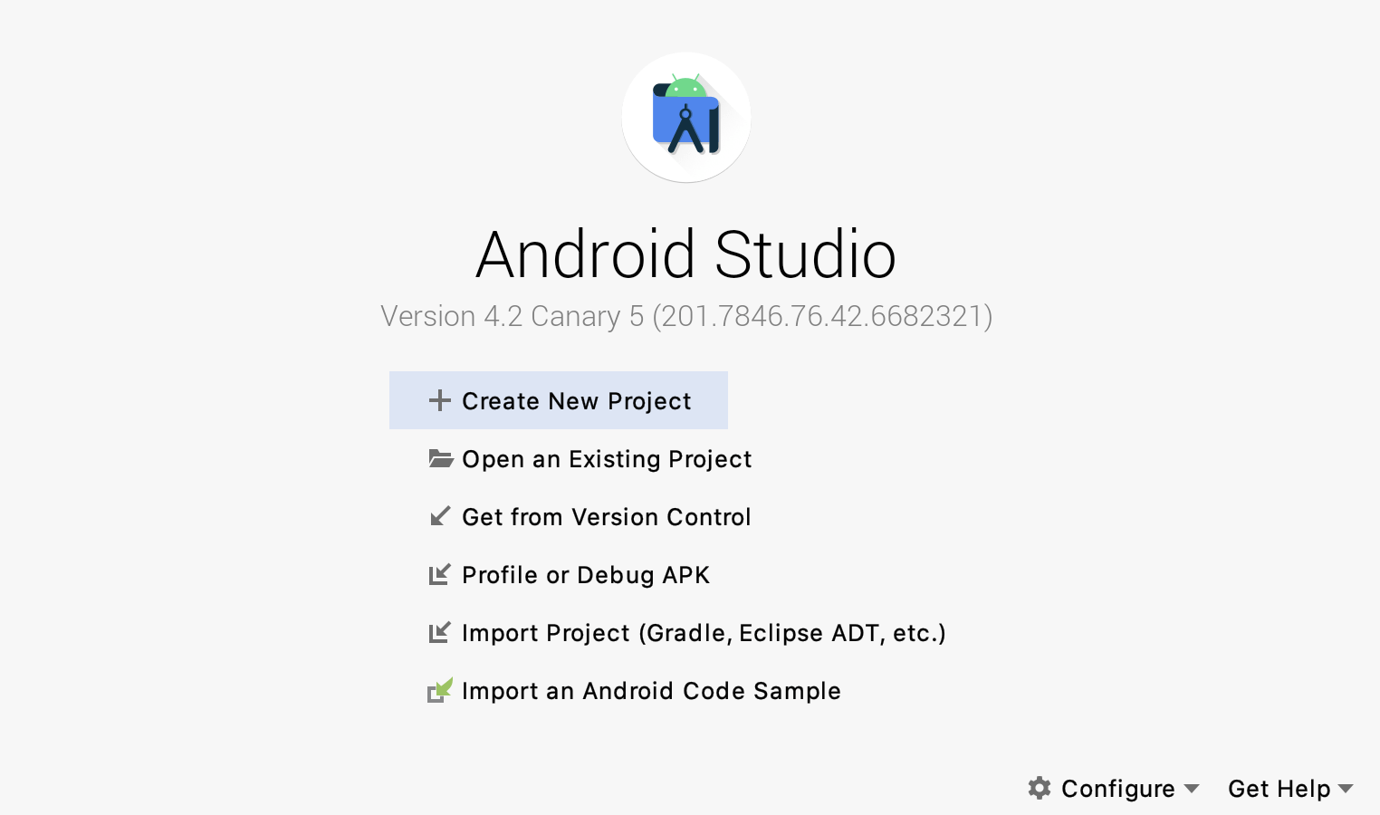 Android Studio beginning page