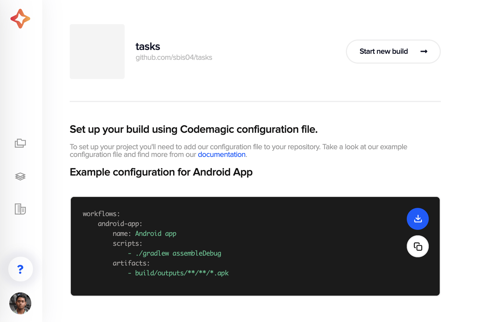Download the YAML template for native Android