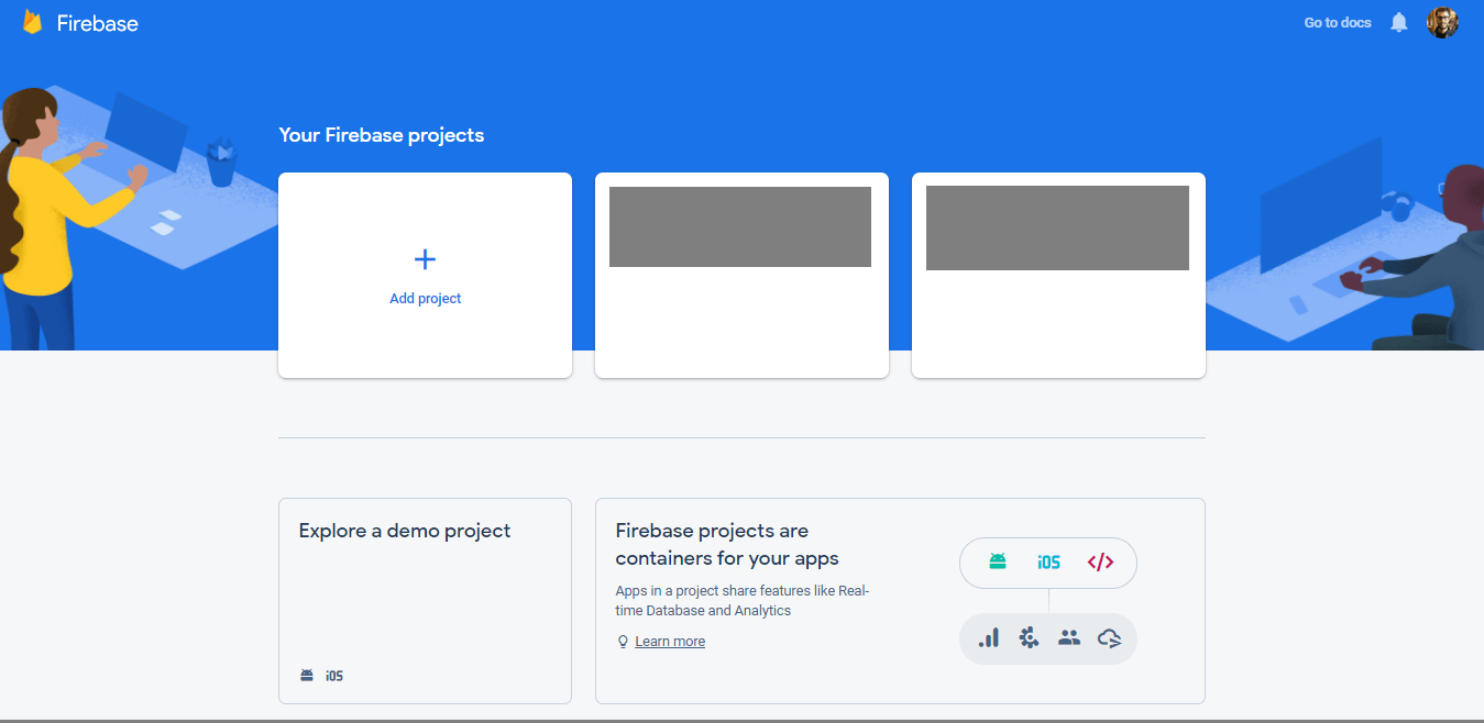 "Practical guide: React Native + Firebase: click ""Add project"" button"