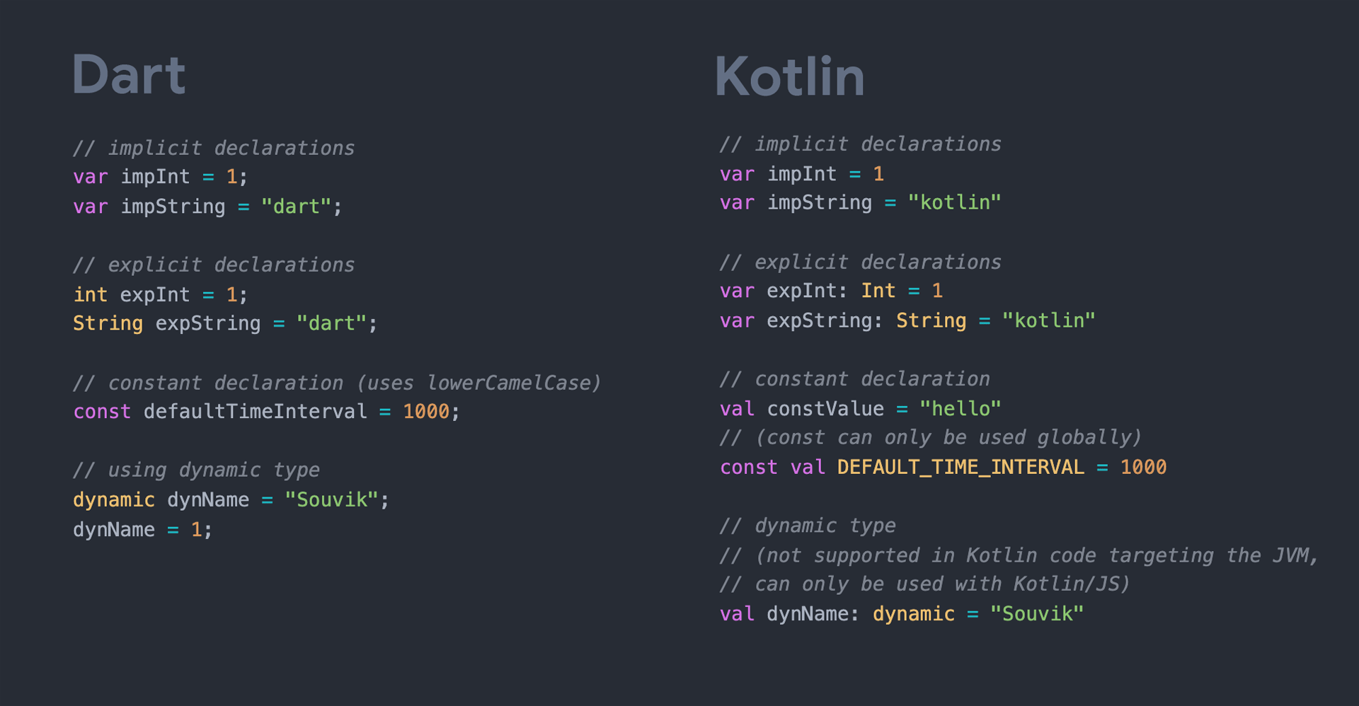 Dart vs Kotlin: Variables & constants
