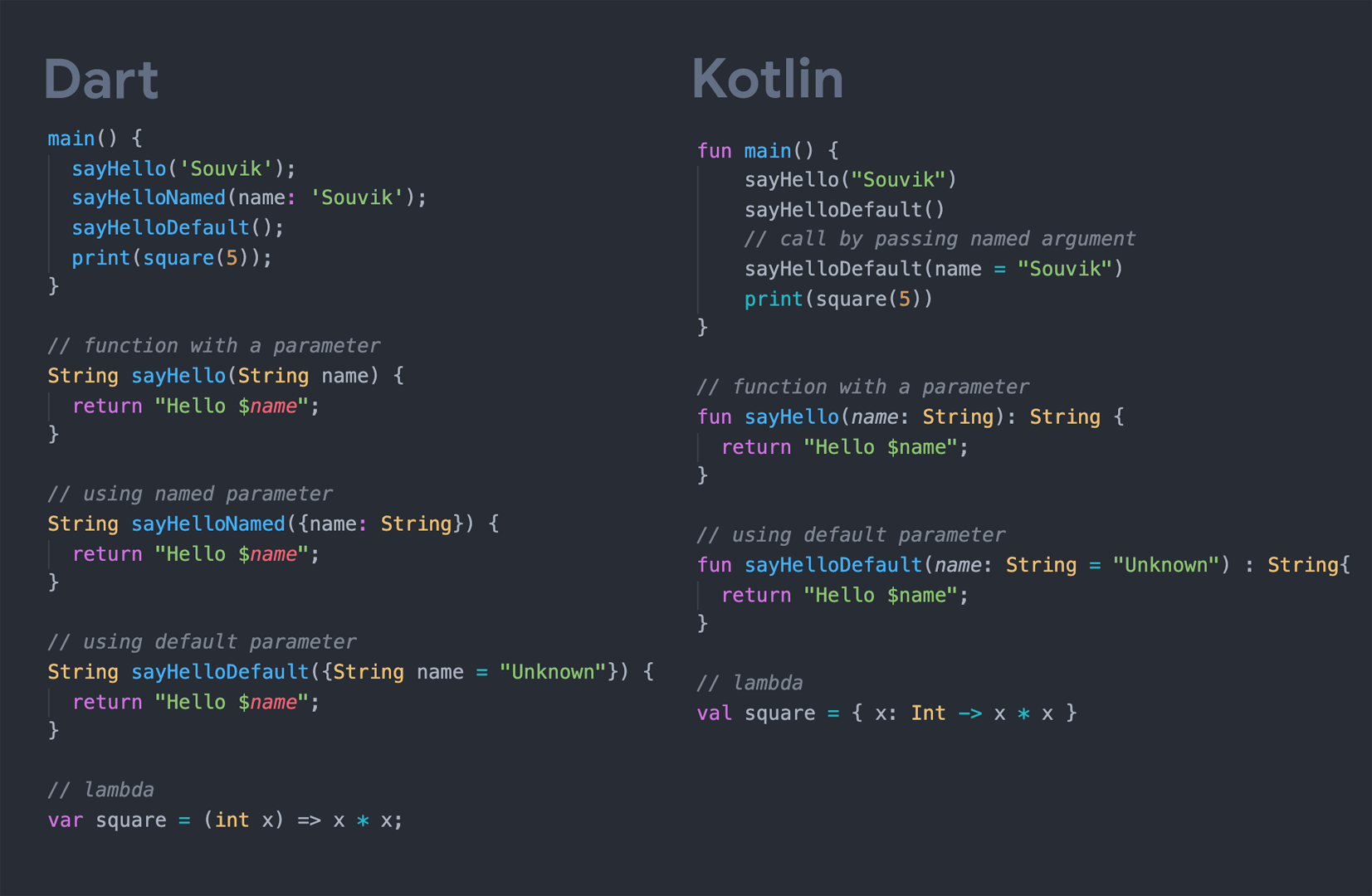 Dart vs Kotlin: Functions