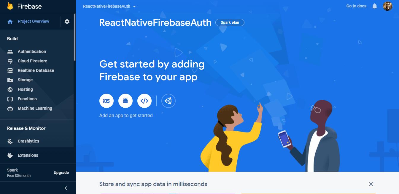 Firebase project dashboard