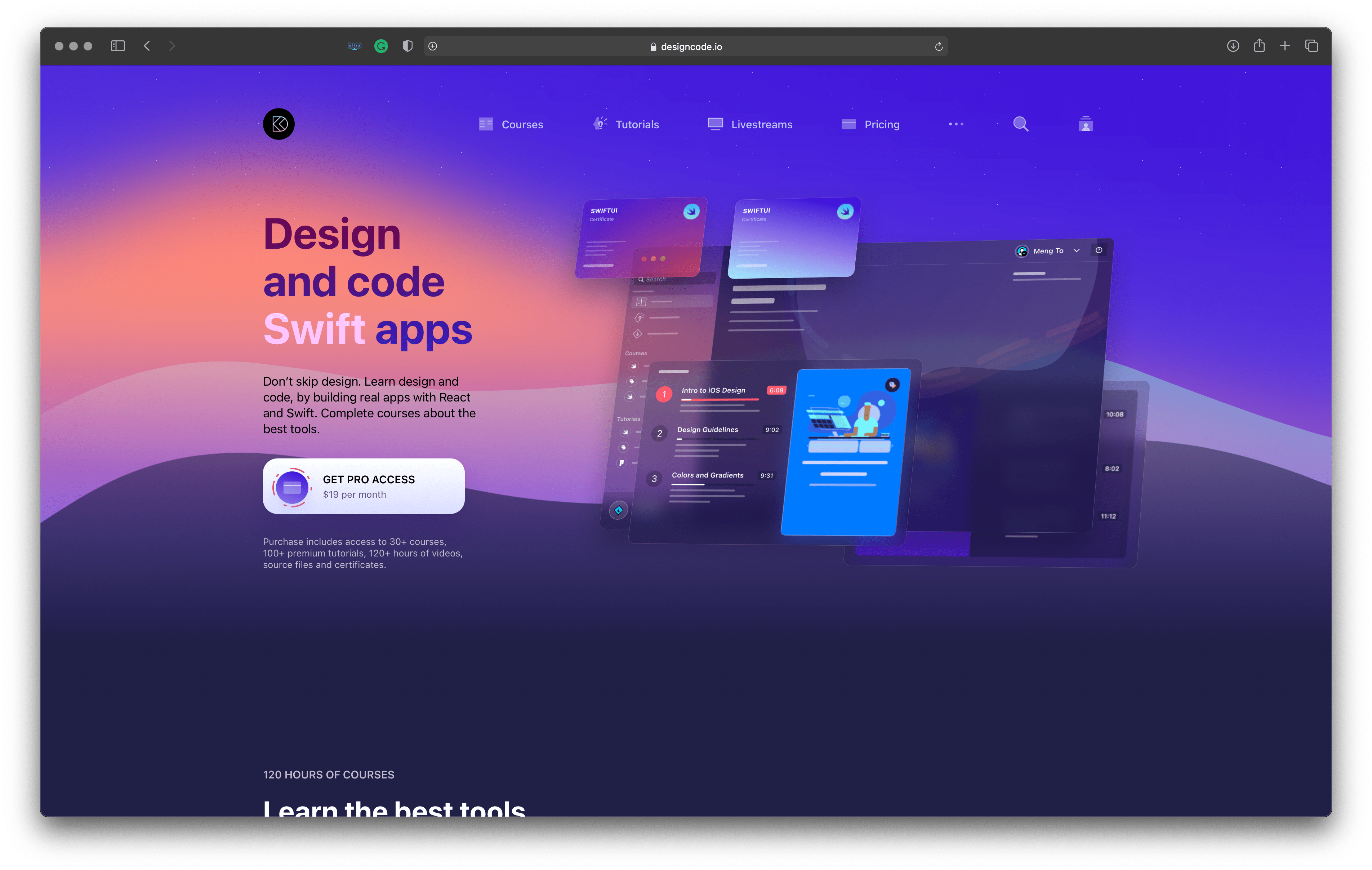 Best tools for iOS developers: Design+Code – UI design related content and courses