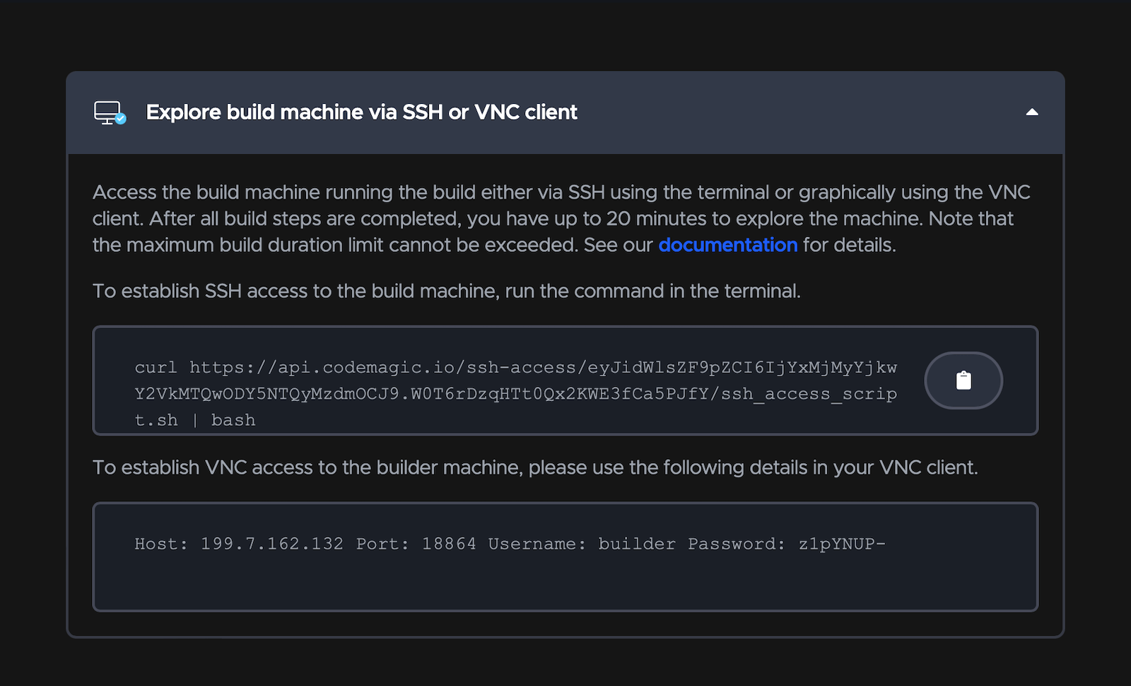 Codemagic remote: Access using SSH or VNC client