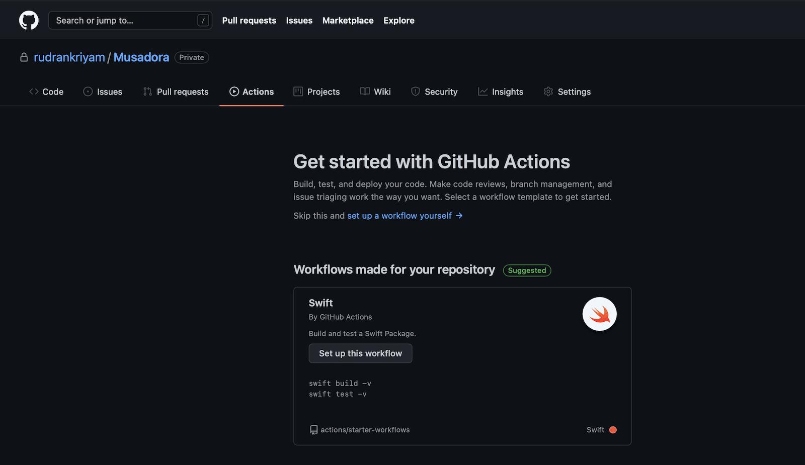 GitHub Actions onboarding: Onboarding screen