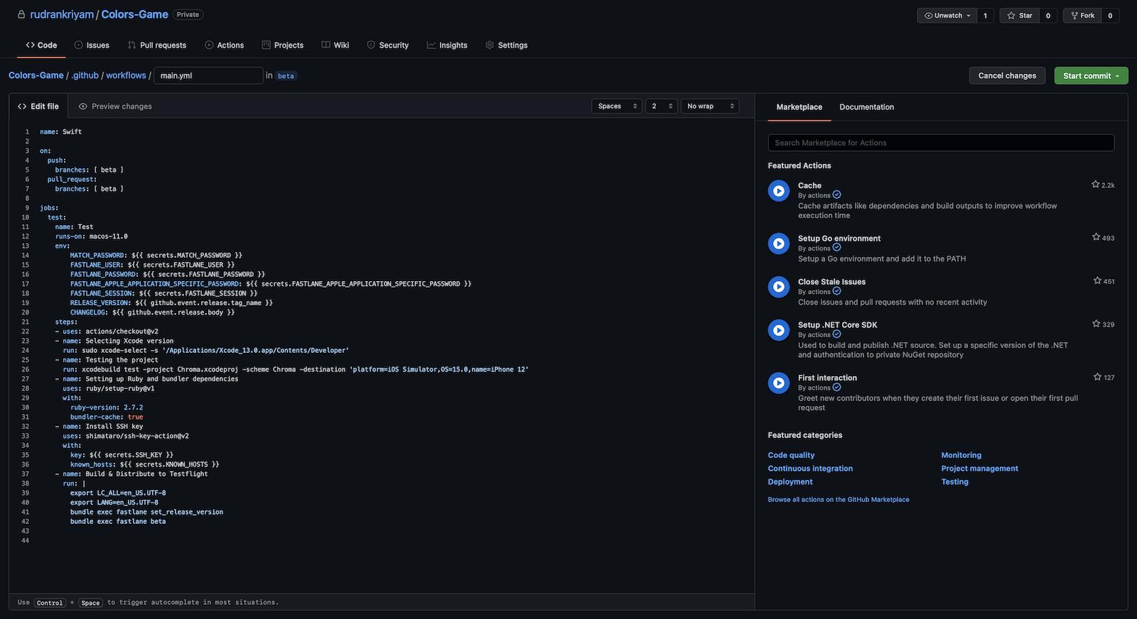 GitHub Actions workflow: YAML editor