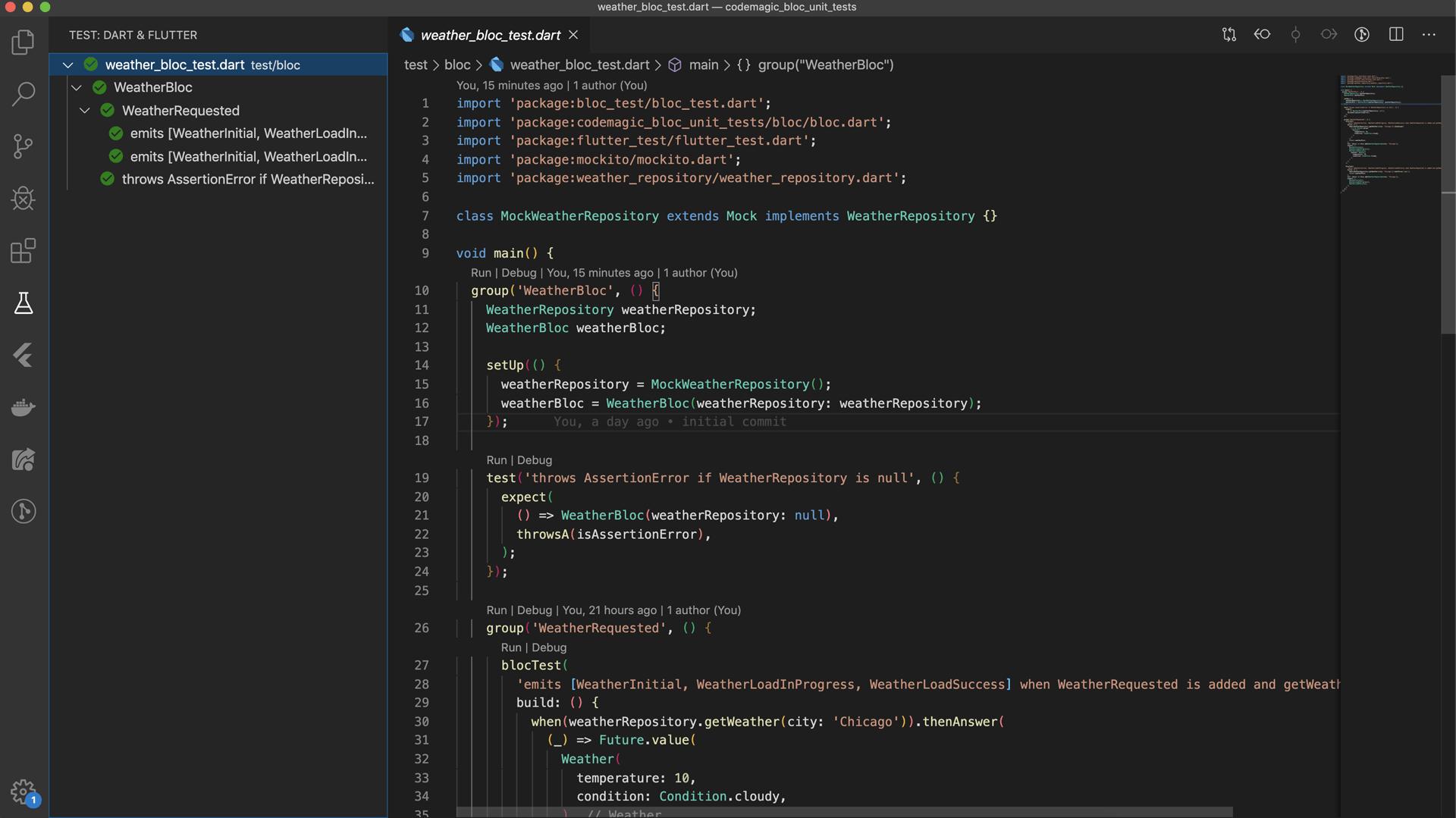 VS Code tests